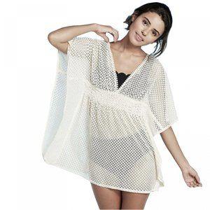 NWT Crochet Weave Cover Up Dress Medium Ivory